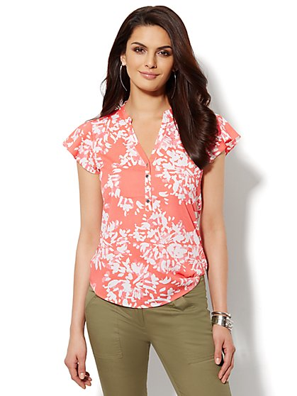 Flutter-Sleeve Chiffon Blouse - Abstract Floral  - New York & Company