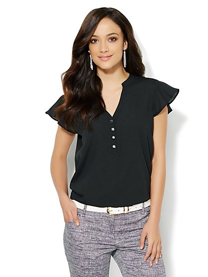Flutter-Sleeve Chiffon Blouse - Solid  - New York & Company