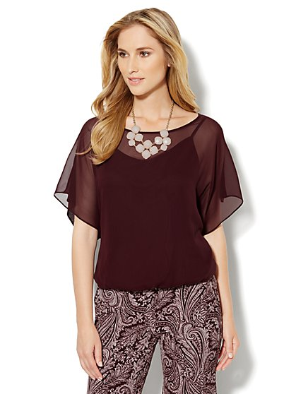 Flutter-Sleeve Chiffon Blouse - New York & Company