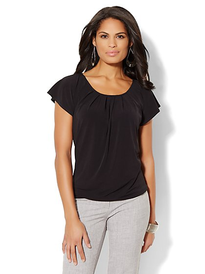 Flutter-Sleeve Pleated Top - Solid - Petite - New York & Company