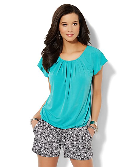 Flutter-Sleeve Pleated Top - Solid  - New York & Company