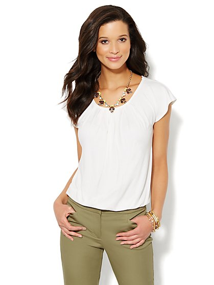 Flutter-Sleeve Pleated Top  - New York & Company