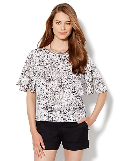 Flutter-Sleeve Print Blouse  - New York & Company