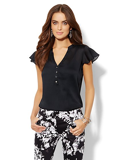 Flutter-Sleeve Textured Chiffon Blouse  - New York & Company