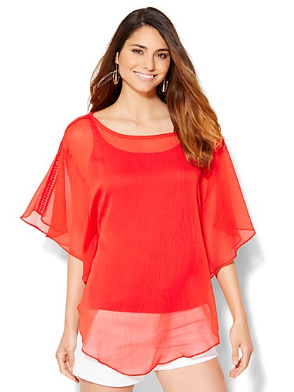 Flutter-Sleeve Topper  - New York & Company