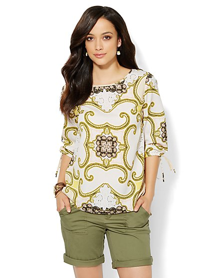 Flyaway-Back Blouse - Scroll Print - New York & Company