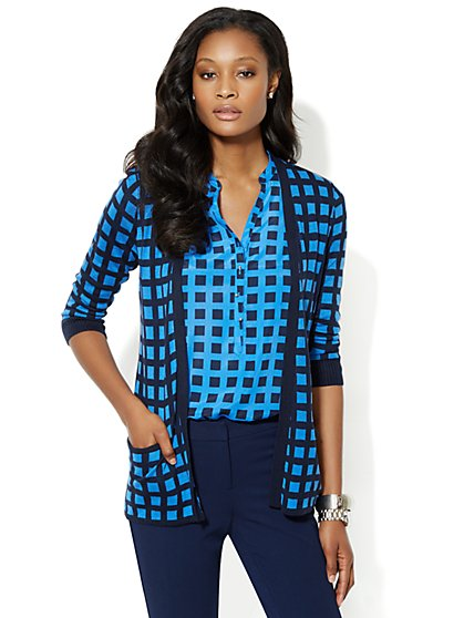 Flyaway Cardigan - Windowpane Print