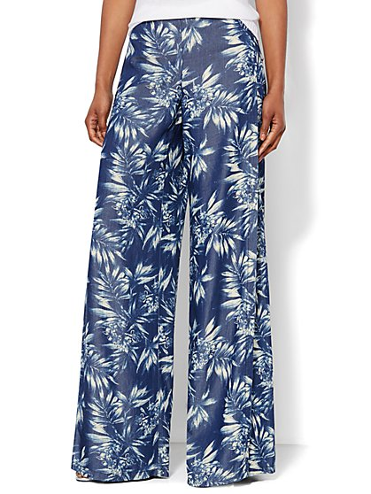 Flyaway Palazzo Pant - Dark Tide Wash - Printed   - New York & Company