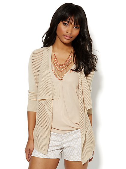 Flyway Cardigan - Pointelle Knit  - New York & Company