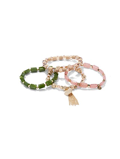 Four-Piece Beaded Stretch Bracelet Set  - New York & Company