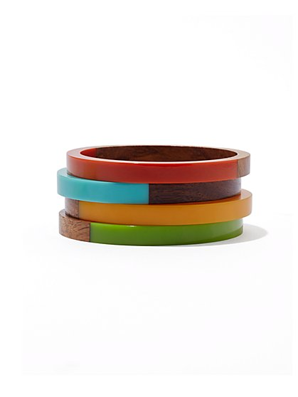 Four-Piece Wooden Bangle Bracelet Set  - New York & Company