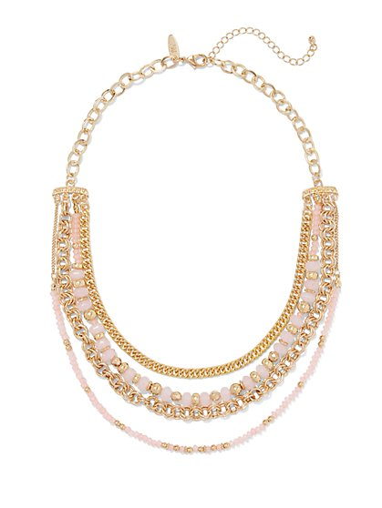 Four-Row Beaded Chain-Link Necklace  - New York & Company