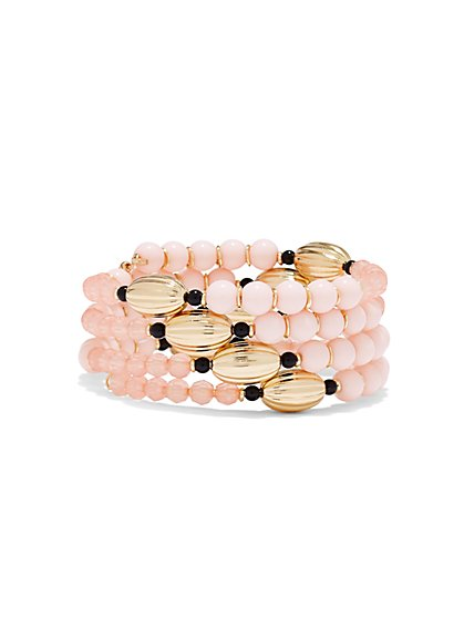 Four-Row Beaded Coil Bracelet  - New York & Company
