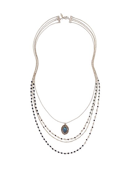 Four-Row Beaded Pendant Necklace - New York & Company