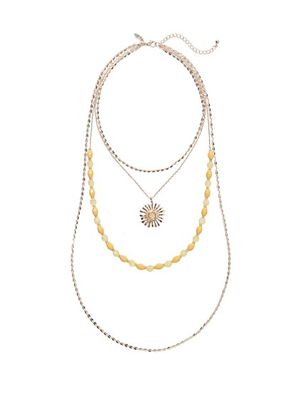 Four-Row Layered Pendant Necklace  - New York & Company