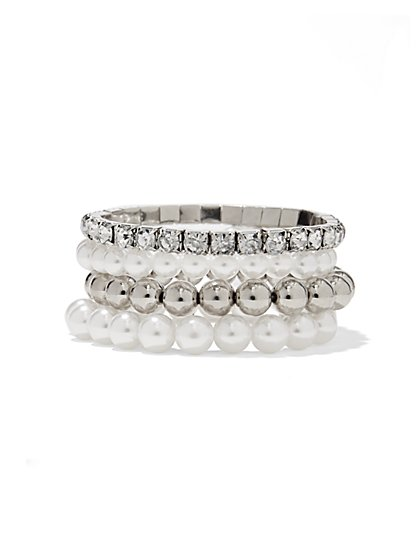 Four-Row Stretch Bracelet Set  - New York & Company