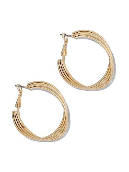 Four-Row Twist Hoop Earring  - New York & Company