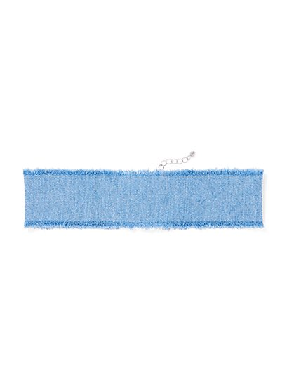 Frayed Denim Choker Necklace  - New York & Company