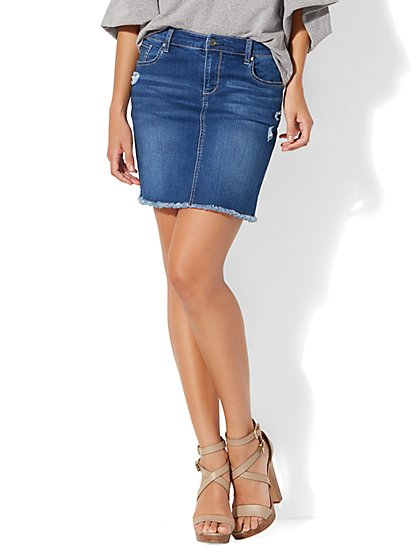 Frayed-Hem Denim Skirt - New York & Company
