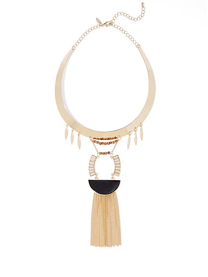 Fringe-Accent Collar/Pendant Necklace  - New York & Company