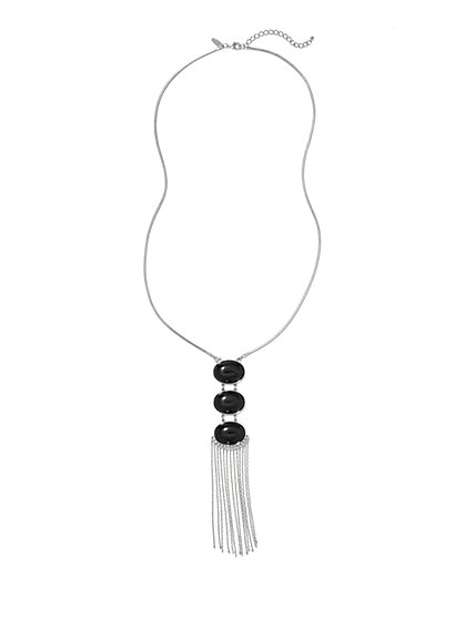 Fringe & Cabochon Pendant Necklace  - New York & Company