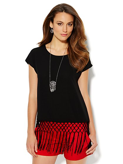 Fringe & Crochet-Trim Blouse  - New York & Company