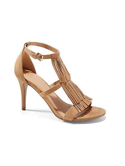 Fringe Faux-Suede High-Heel Sandal  - New York & Company