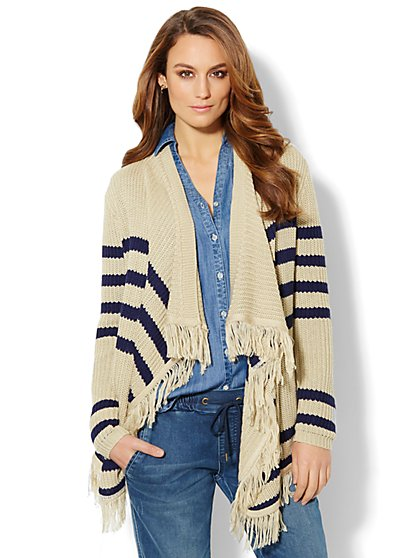 Fringe Flyaway Blanket Sweater - New York & Company