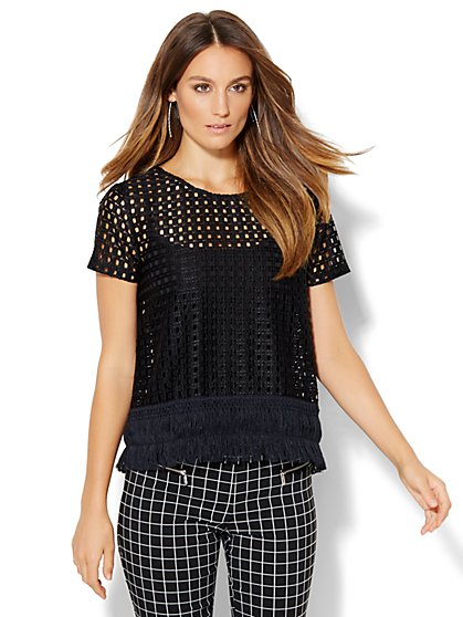 Fringe Open-Weave T-Shirt  - New York & Company