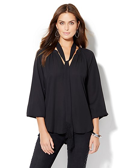 Fringe-Scarf Blouse  - New York & Company