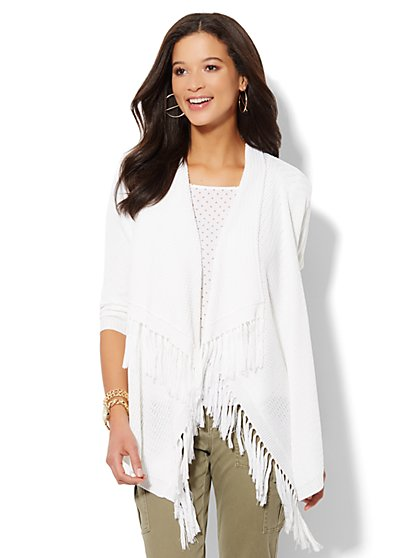 Fringe-Trim Draped Flyaway Cardigan  - New York & Company