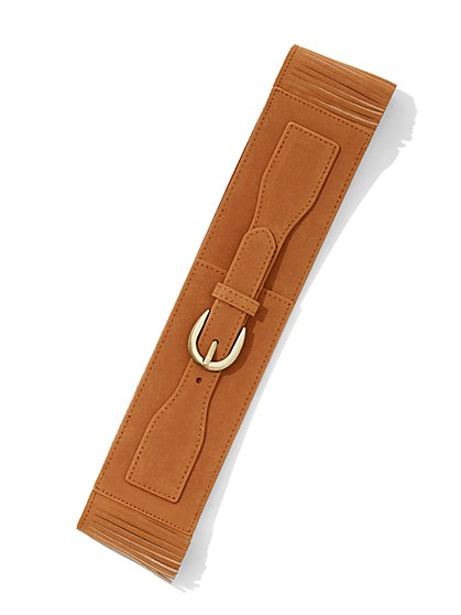Fringe-Trim Faux-Suede Belt  - New York & Company