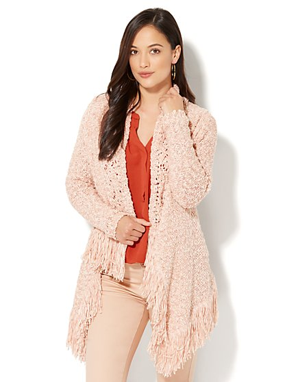 Fringe-Trim Flyaway Cardigan - New York & Company