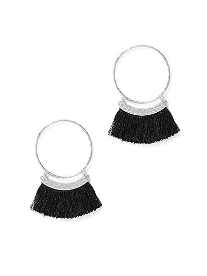 Fringe-Trim Hoop Earring  - New York & Company
