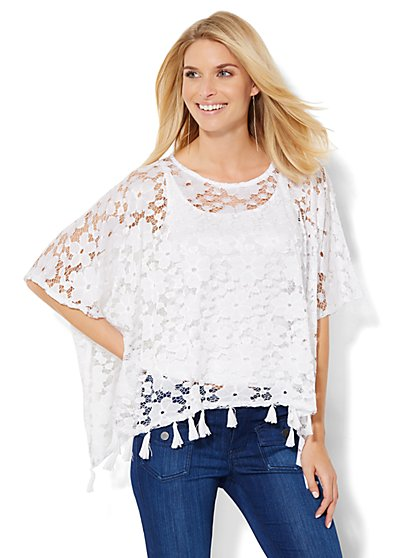 Fringe-Trim Lace Poncho   - New York & Company