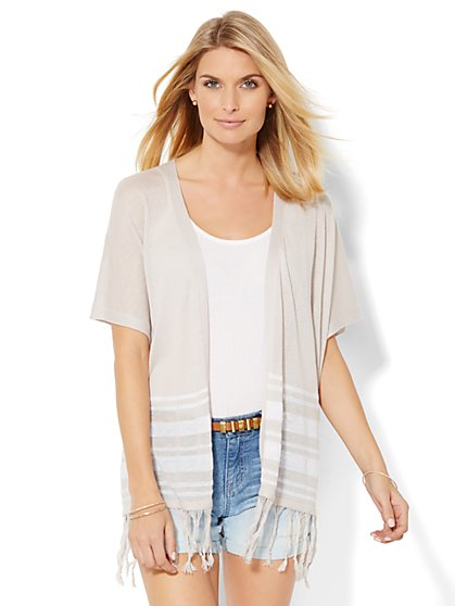 Fringe-Trim Open-Front Cardigan - Stripe  - New York & Company