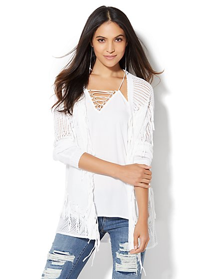 Fringe-Trim Open-Stitch Cardigan  - New York & Company