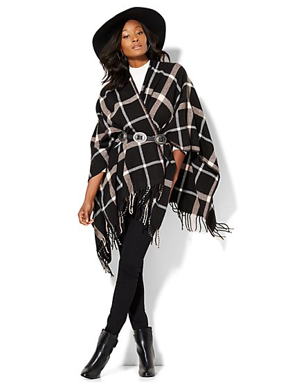 Fringe-Trim Poncho - Plaid  - New York & Company