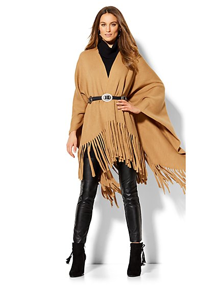 Fringe-Trim Poncho  - New York & Company