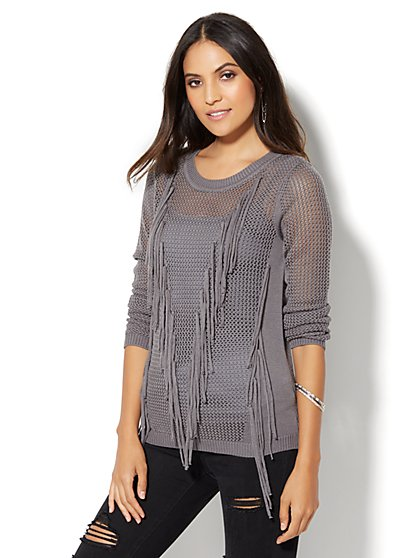 Fringe-Trim Pullover  - New York & Company