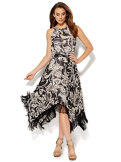 Fringe-Trim Sharkbite Halter Dress - Floral - New York & Company