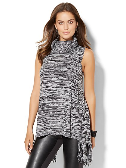 Fringe-Trim Sleeveless Sweater - Marled Knit  - New York & Company