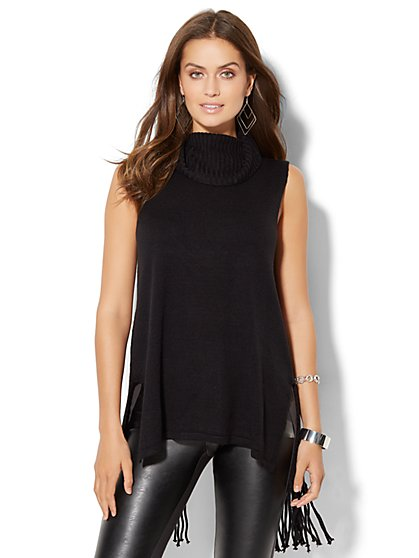 Fringe-Trim Sleeveless Sweater  - New York & Company