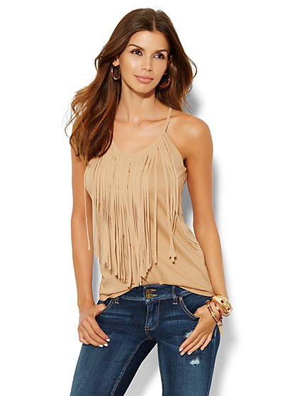 Fringe-Trim Tank Top  - New York & Company