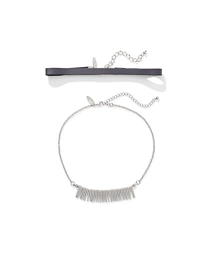 Fringed 2-Row Choker Necklace  - New York & Company