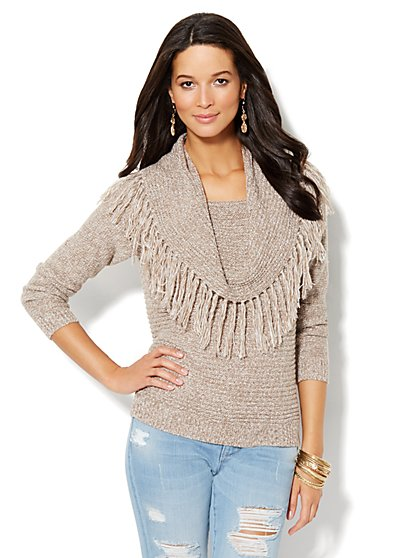 Fringed Cowl-Neck Sweater  - New York & Company