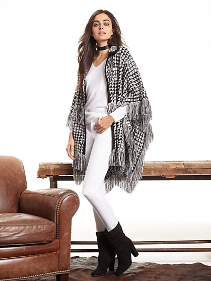 Fringed Herringbone Poncho  - New York & Company