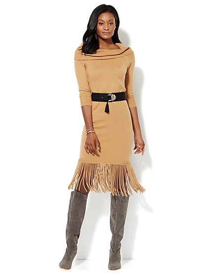 Fringed Midi Sweater Dress - Petite  - New York & Company