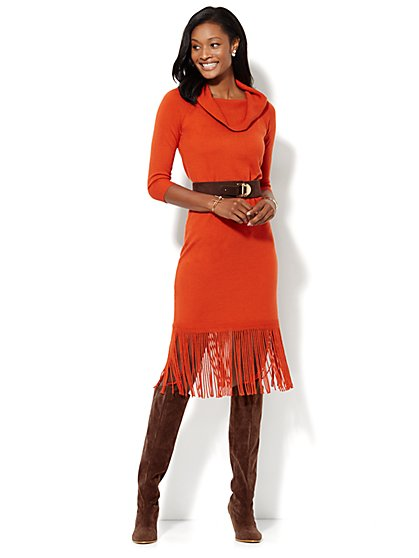 Fringed Midi Sweater Dress - New York & Company