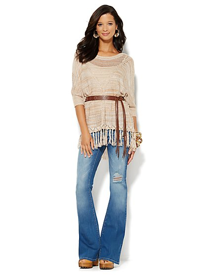 Fringed Mixed-Stitch Poncho  - New York & Company